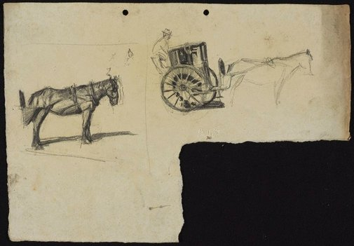 An image of Cab horse [left] and Cab with horse [right] by Lloyd Rees