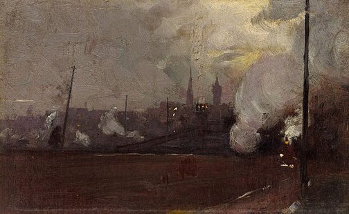 An image of Evening train to Hawthorn by Tom Roberts