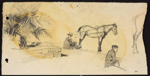 An image of recto: Cabby waiting beside raised garden and Back legs of a horse verso: Cab horse by Lloyd Rees