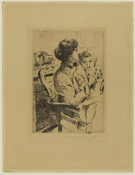 An image of Mother and daughter by Lovis Corinth