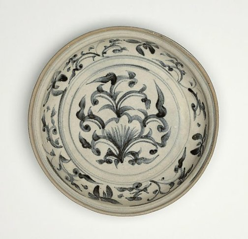 An image of Dish with stylised floral decoration by
