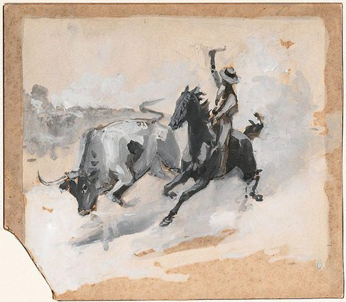 An image of Study for 'Rounding up a straggler' by Frank Mahony