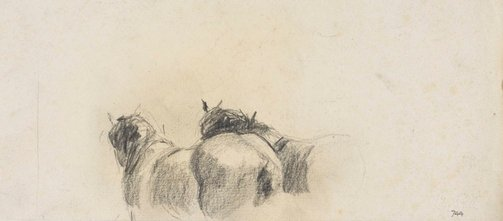An image of recto: Backs of Clydesdales verso: Male profile (twice) by Lloyd Rees