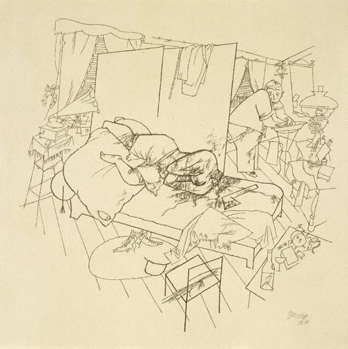 An image of Murder in Ackerstrasse by George Grosz