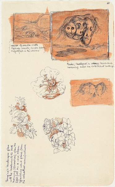 An image of (Studies for three floating heads, plant forms) by James Gleeson