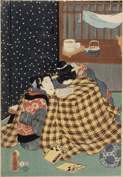An image of (Two women in kotatsu heater) by Utagawa KUNISADA /TOYOKUNI III