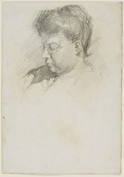 An image of Mother reading, wearing spectacles by Lloyd Rees