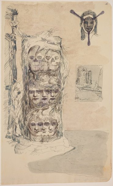 An image of (Study for column of triple heads) by James Gleeson