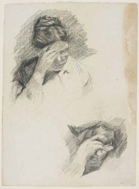 An image of Two studies of mother reading, hand to brow by Lloyd Rees