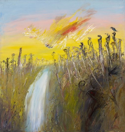 An image of Nebuchadnezzar on fire falling over a waterfall by Arthur Boyd