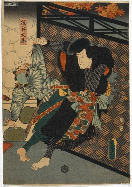 An image of Neno-i Taro fighting a guard by Utagawa KUNISADA /TOYOKUNI III