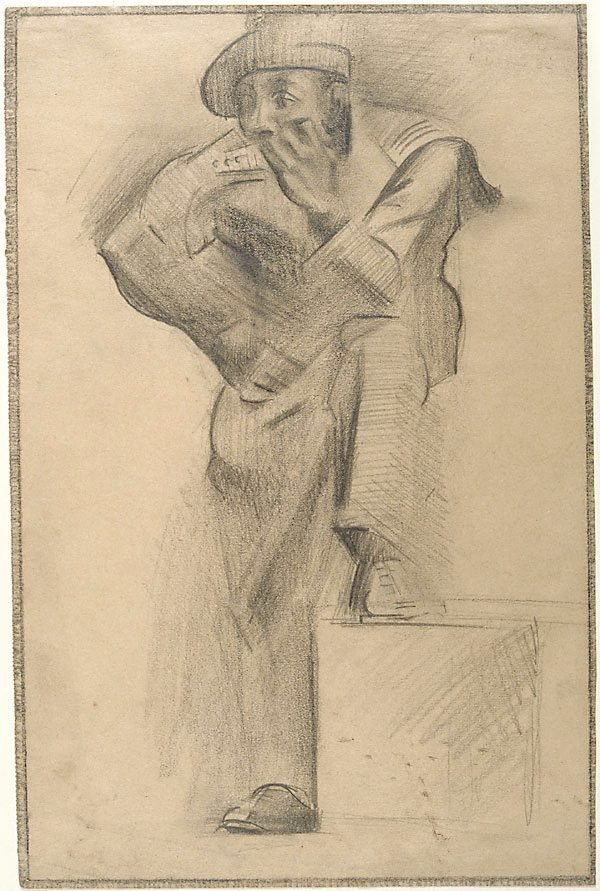 An image of Figure study: French sailor standing, one leg raised on box