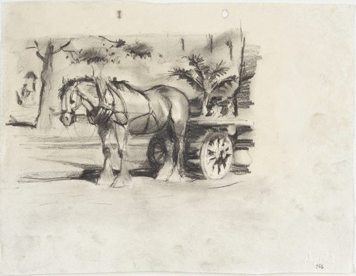 An image of Clydesdale and dray in Macquarie Place by Lloyd Rees