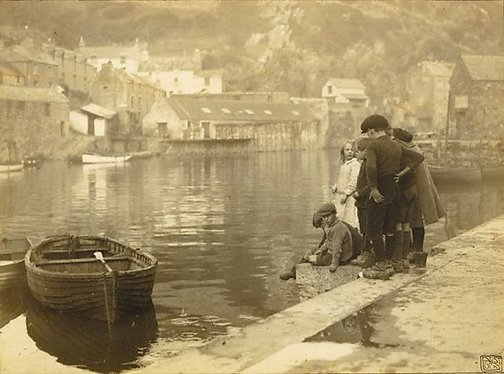 An image of An old world harbour, Polperro Cornwall by Cecil Bostock
