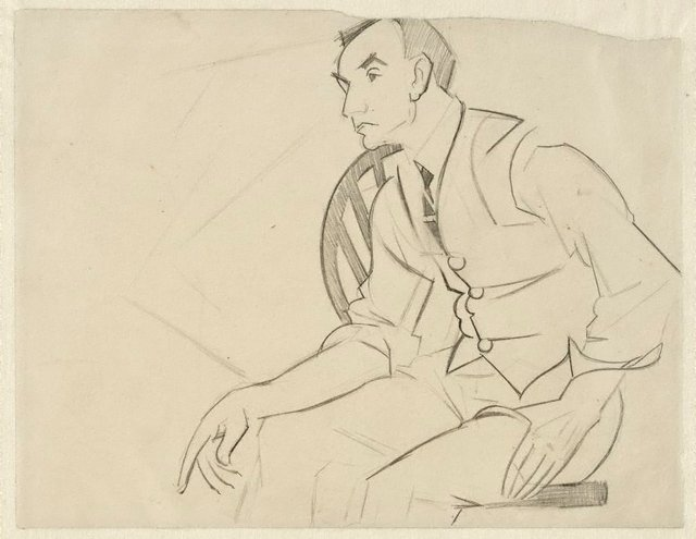 An image of Sketch of Rah Fizelle seated