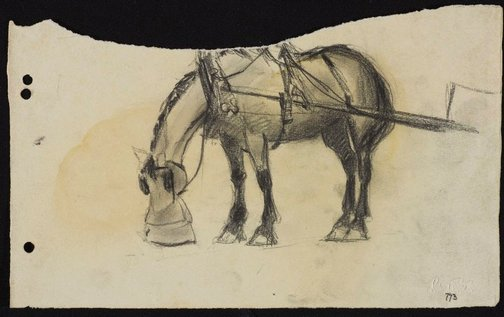 An image of Harnessed horse with nosebag by Lloyd Rees