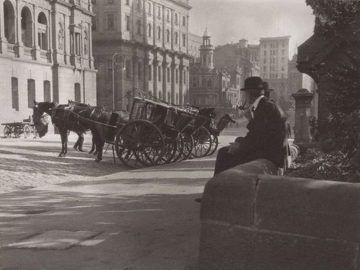 An image of Cabbies, Bridge Street, Sydney by Harold Cazneaux