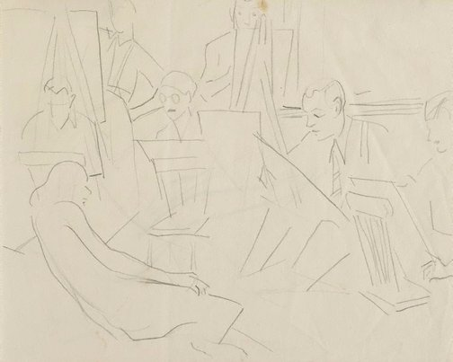 An image of recto: Composition sketch, sketching the model verso: Nude model study (Crowley-Fizelle School) by Grace Crowley