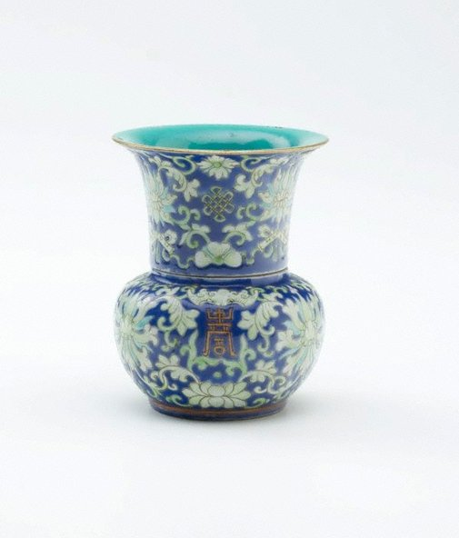 An image of Leys jar with lotus design by