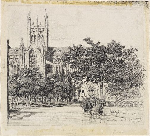 An image of St Mary's Cathedral by Lloyd Rees