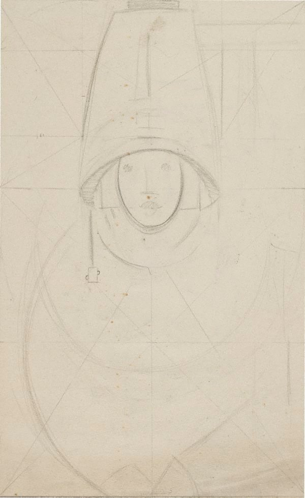 An image of Composition sketch for 'Woman under hair-dryer'