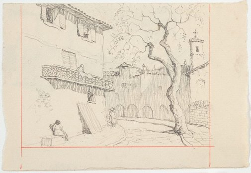 An image of recto: Drawing for soft-ground etching 'Plaza Soller, Majorca' verso: Drawing for soft-ground etching 'Tuscan Town' by Lloyd Rees