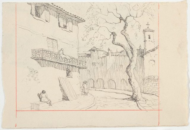 An image of recto: Drawing for soft-ground etching 'Plaza Soller, Majorca' verso: Drawing for soft-ground etching 'Tuscan Town'