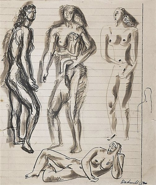 An image of recto: Figure studies verso: Study of a head (upside down) by Lyndon Dadswell