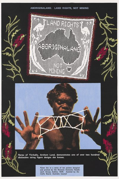 An image of Aboriginaland. Land rights, not mining by Women's Domestic Needlework Group, Sydney, Marie McMahon, Frances Phoenix