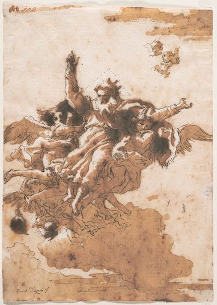 An image of God the Father supported by angels in the clouds by Giovanni Domenico Tiepolo