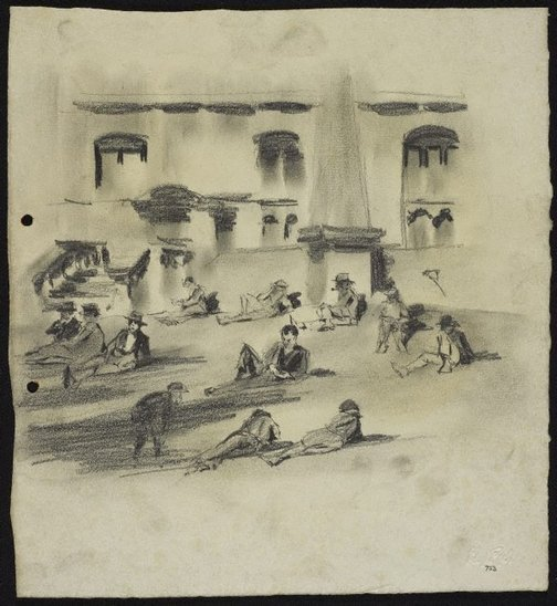 An image of recto: Lunch break in Macquarie Place verso: Sketch of a man [top] and Square [bottom] by Lloyd Rees