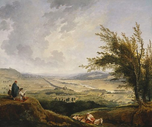 An image of An extensive landscape near Paris by Hubert Robert
