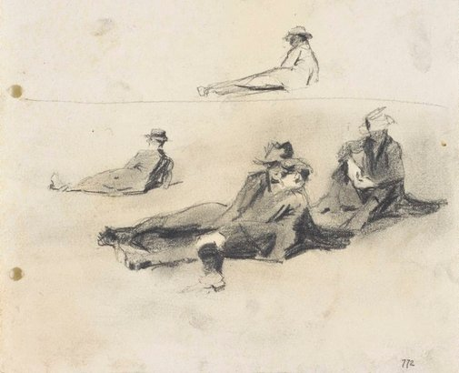 An image of recto: Men relaxing on the grass verso: Relaxing man by Lloyd Rees