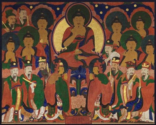 An image of Buddha Amitabha and his pantheon