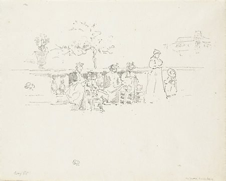 An image of The terrace, Luxembourg by James Abbott McNeill Whistler