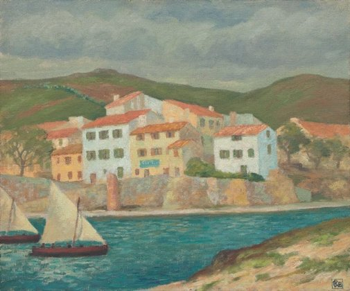 An image of Fishermen's houses, Port Vendres by Rupert Bunny