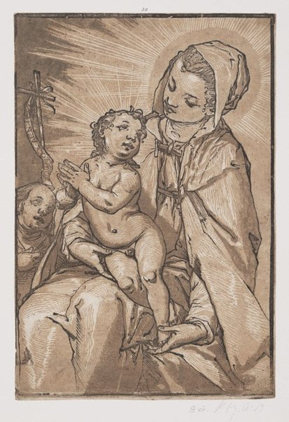 An image of The Virgin and Child by Andrea Andreani, after Alessandro Casolani