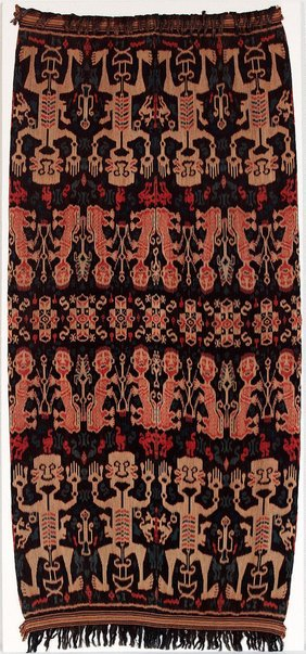 An image of Hinggi (man's shawl or mantle) with stylised design of human figures by