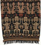 Alternate image of Hinggi (man's shawl) with stylised design of human figures by