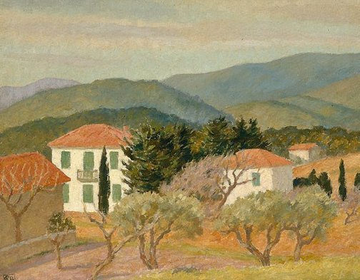 An image of House below hill by Rupert Bunny