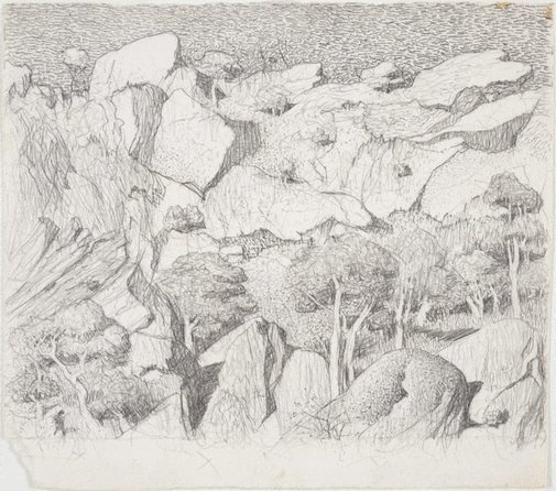 An image of Drawing for the etching 'Cliff face, Central Australia' by Lloyd Rees