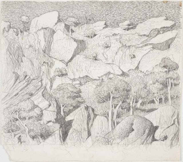 An image of Drawing for the etching 'Cliff face, Central Australia'