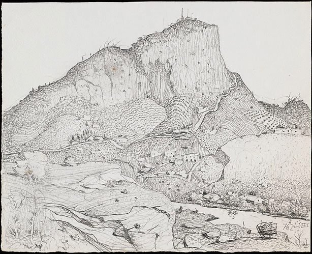 An image of Drawing for the etching 'A Tasmanian mountain'
