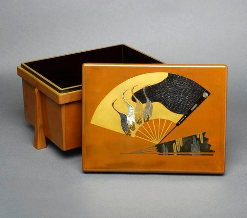 An image of Miniature armour box ('karabitsu') with design of cranes on a fan-shape reserve by