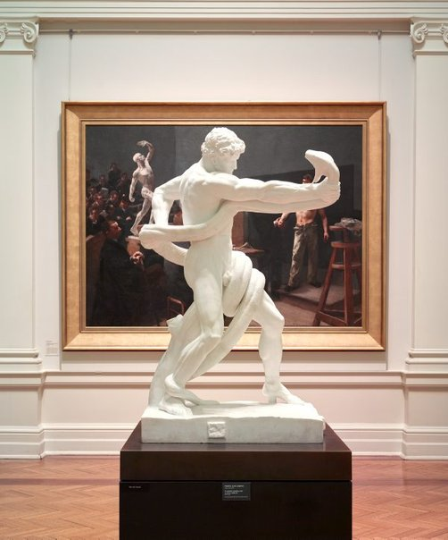 An image of An athlete wrestling with a python by Frederic, Lord Leighton
