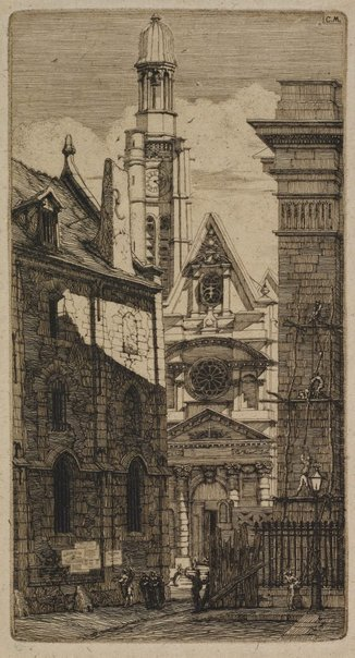 An image of St. Etienne-du-Mont, Paris by Charles Meryon