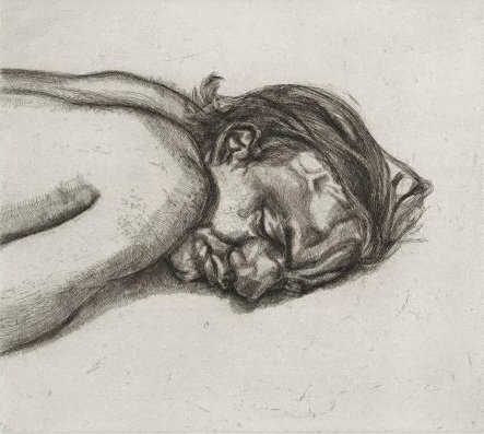 An image of Man resting by Lucian Freud
