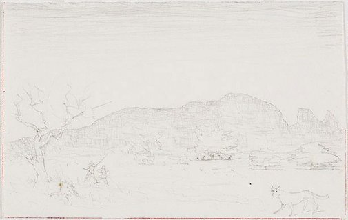 An image of recto: Drawing for the etching 'Macdonnell Ranges, Central Australia I' verso: [wax impression] by Lloyd Rees