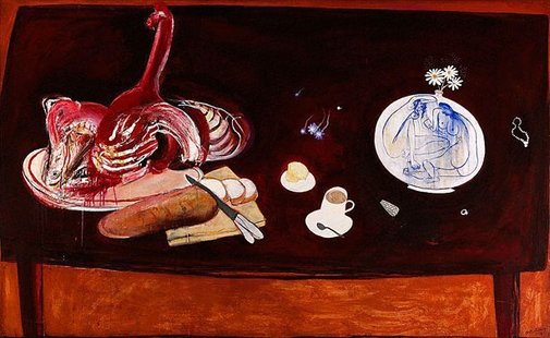 An image of Still life with meat by Brett Whiteley