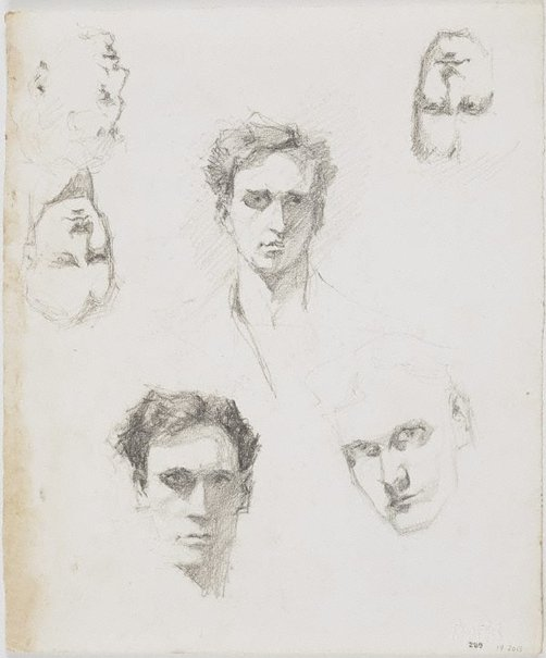 An image of recto: Three self portraits and the profile of a woman verso: Five self portraits and the profile of a woman by Lloyd Rees